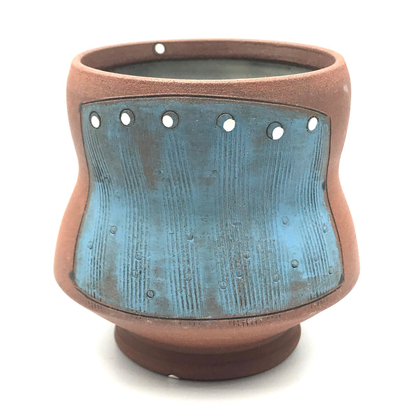 Ceramic Red Clay Whiskey Cup, Blue with White Design