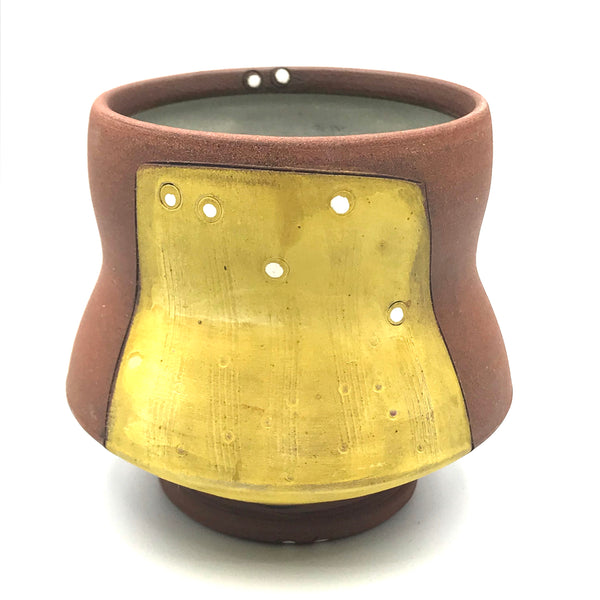 Ceramic Red Clay Cocktail Cup, Yellow with White Design