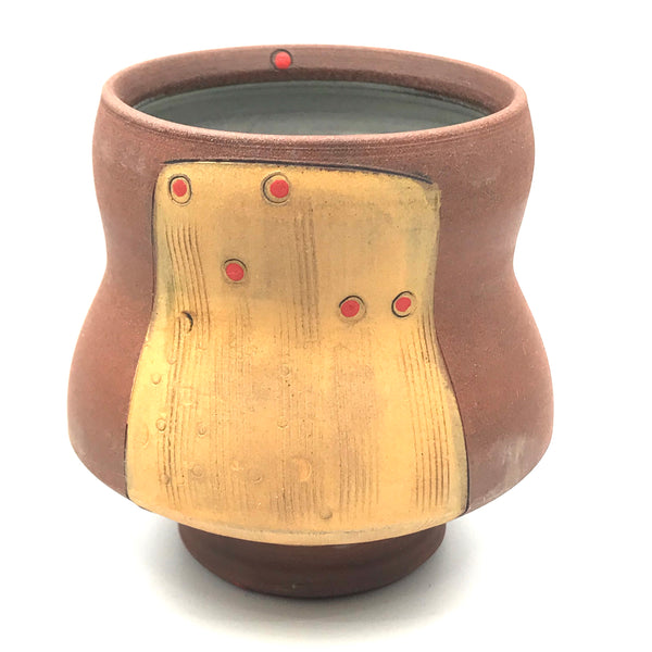 Ceramic Red Clay Whiskey Cup, Orange with Red Design