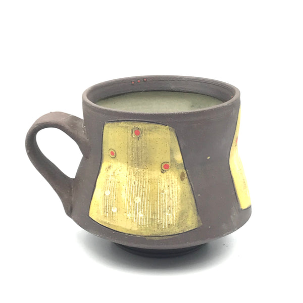 Ceramic Dark Clay Espresso Mugs, Yellow with Red Design