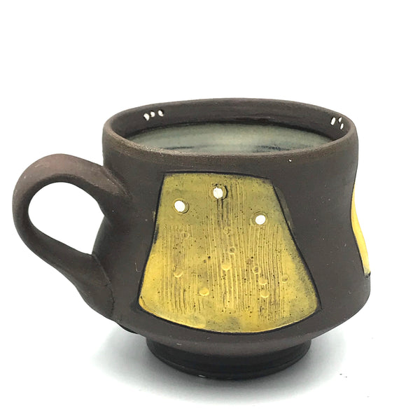 Ceramic Dark Clay Espresso Mugs, Yellow with White Design