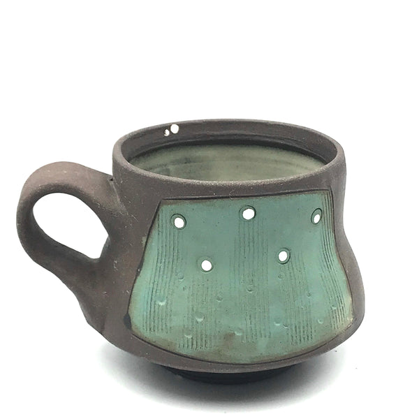 Ceramic Dark Clay Espresso Mugs, Green with White Design