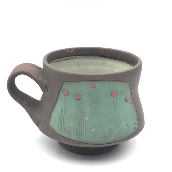 Ceramic Dark Clay Espresso Mugs, Green with Red Design