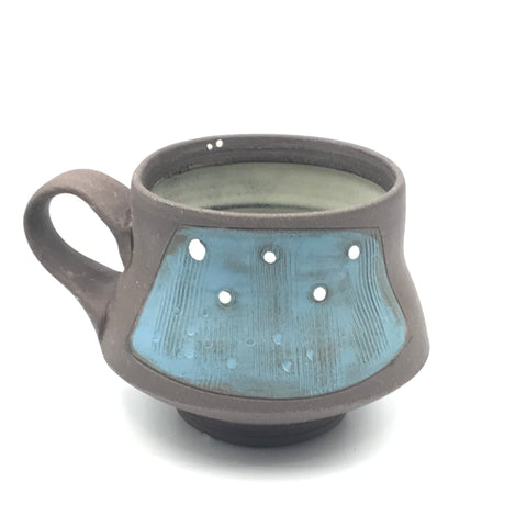 Ceramic Dark Clay Espresso Mugs, Blue with White Design