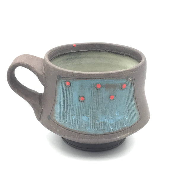 Ceramic Dark Clay Espresso Mugs, Blue with Red Design