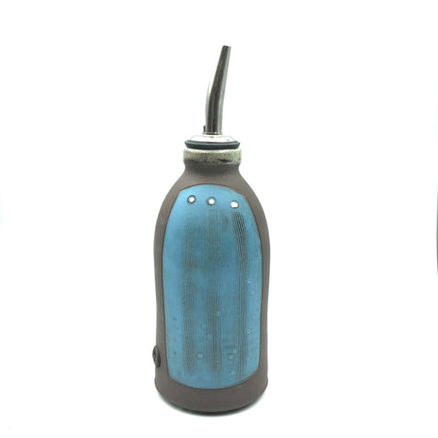 Ceramic Dark Clay Oil or Vinegar Bottle, Blue with White Design