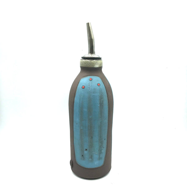 Ceramic Dark Clay Oil or Vinegar Bottle, Blue with Red Design