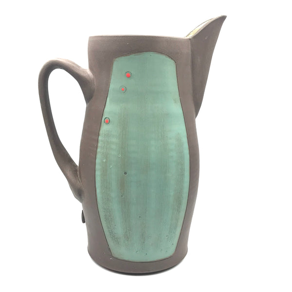 Ceramic Dark Clay Pitcher, Green Design, 9 inches