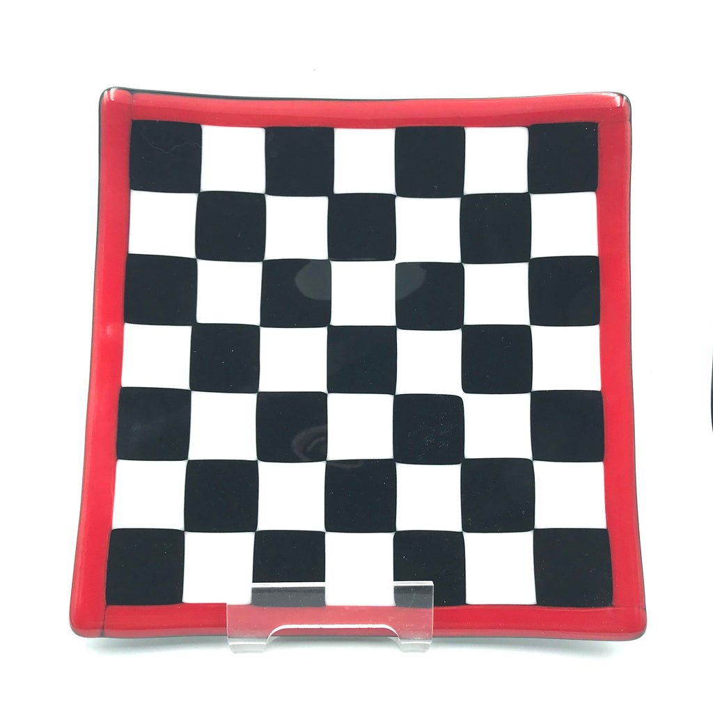 Medium Checkered Glass Plate 7 3/4 x 7 3/4 inches