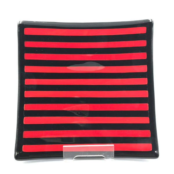 Medium Black and Red Striped Glass Plate 8 x 8 inches