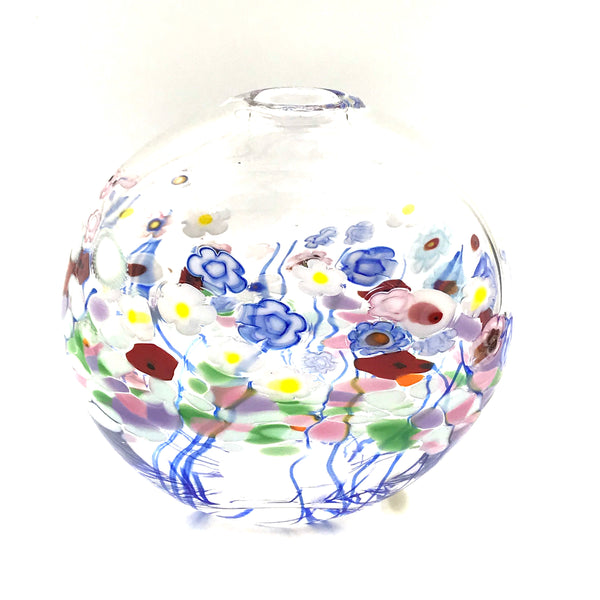 CLEAR FLOWER BOUQUET ROUND FLAT VASE
