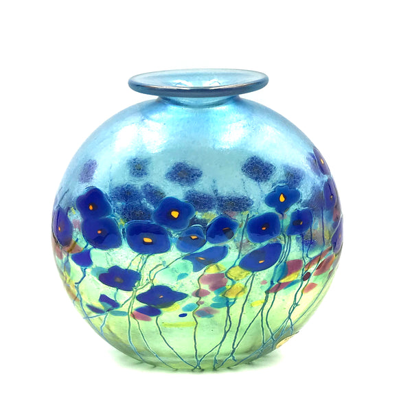 BLUE POPPY ROUND FLAT VASE WITH LIP