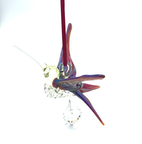 Glass Large hummingbird with crystal and red blue wings