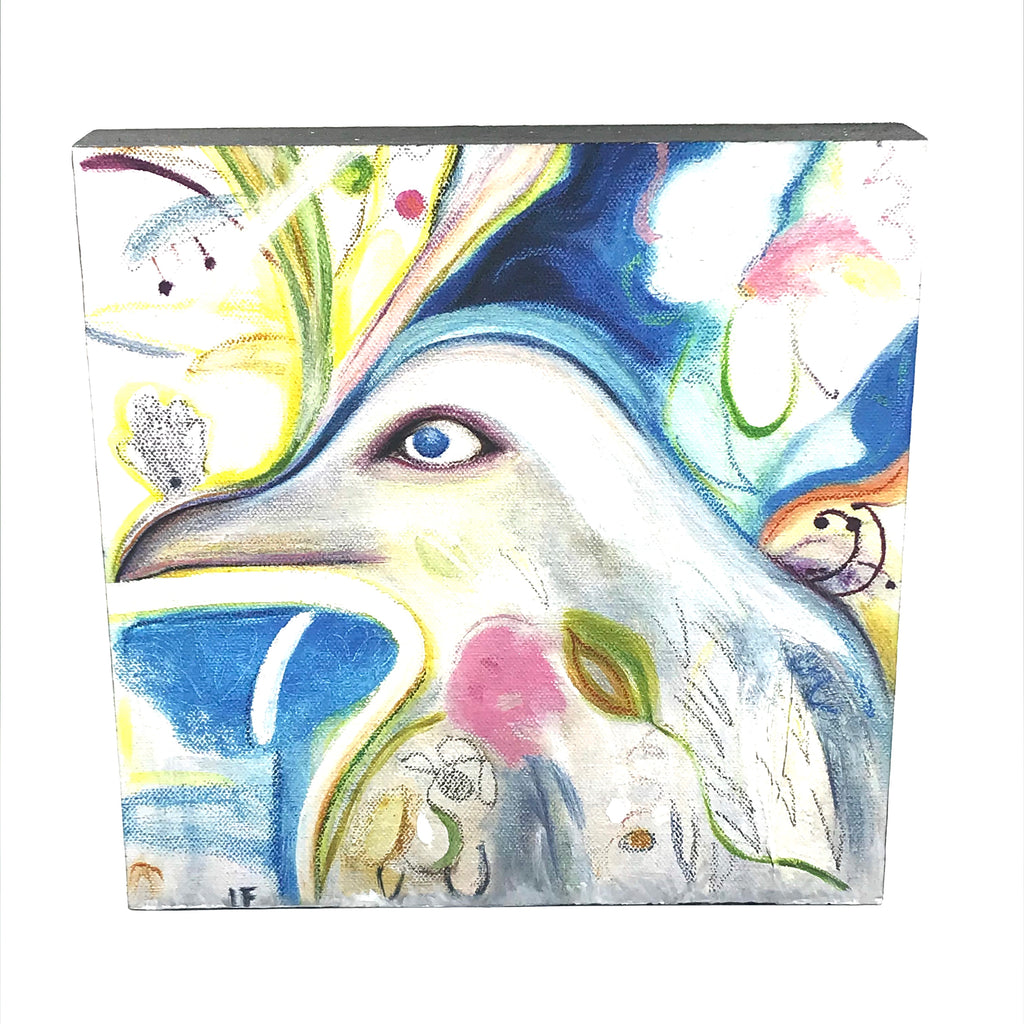 Blue and White Bird painted on wood