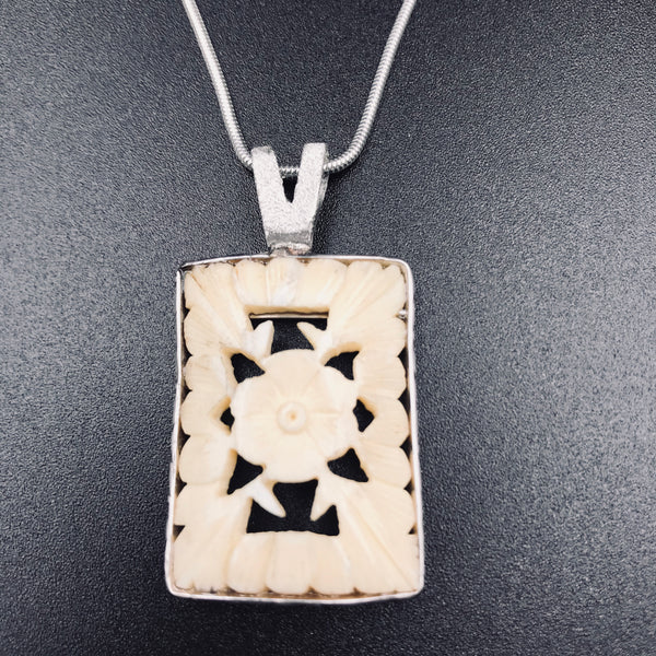 Sterling Silver design with Carved Antique Ivory Pendant Necklace