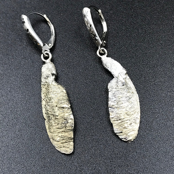 Sterling Silver Maple Spinner Earrings, 1 3/4 inches