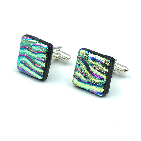 Sterling Silver & Glass Square Cuff Links, Yellow and Pink Waves