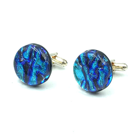 Sterling Silver & Glass Round Cuff Links, Blue Waves
