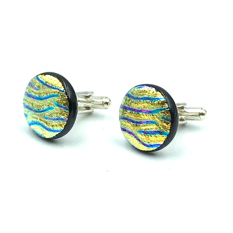 Sterling Silver & Glass Round Cuff Links, Orange and Blue Stripes