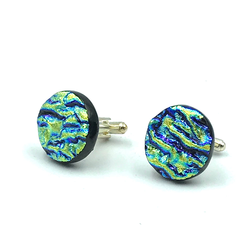 Sterling Silver & Glass Round Cuff Links, Yellow and Blue
