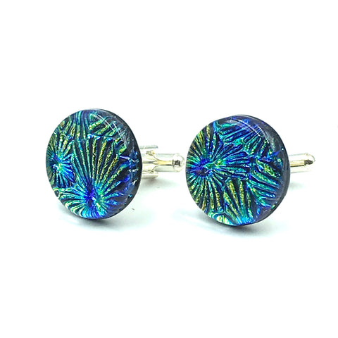 Sterling Silver & Glass Round Cuff Links, Yellow and Blue Spray