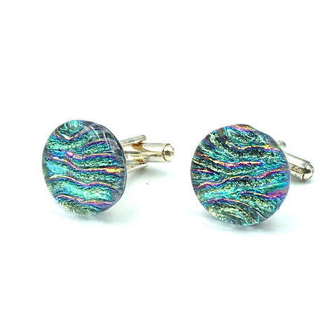 Sterling Silver & Glass Round Cuff Links, Green and Pink