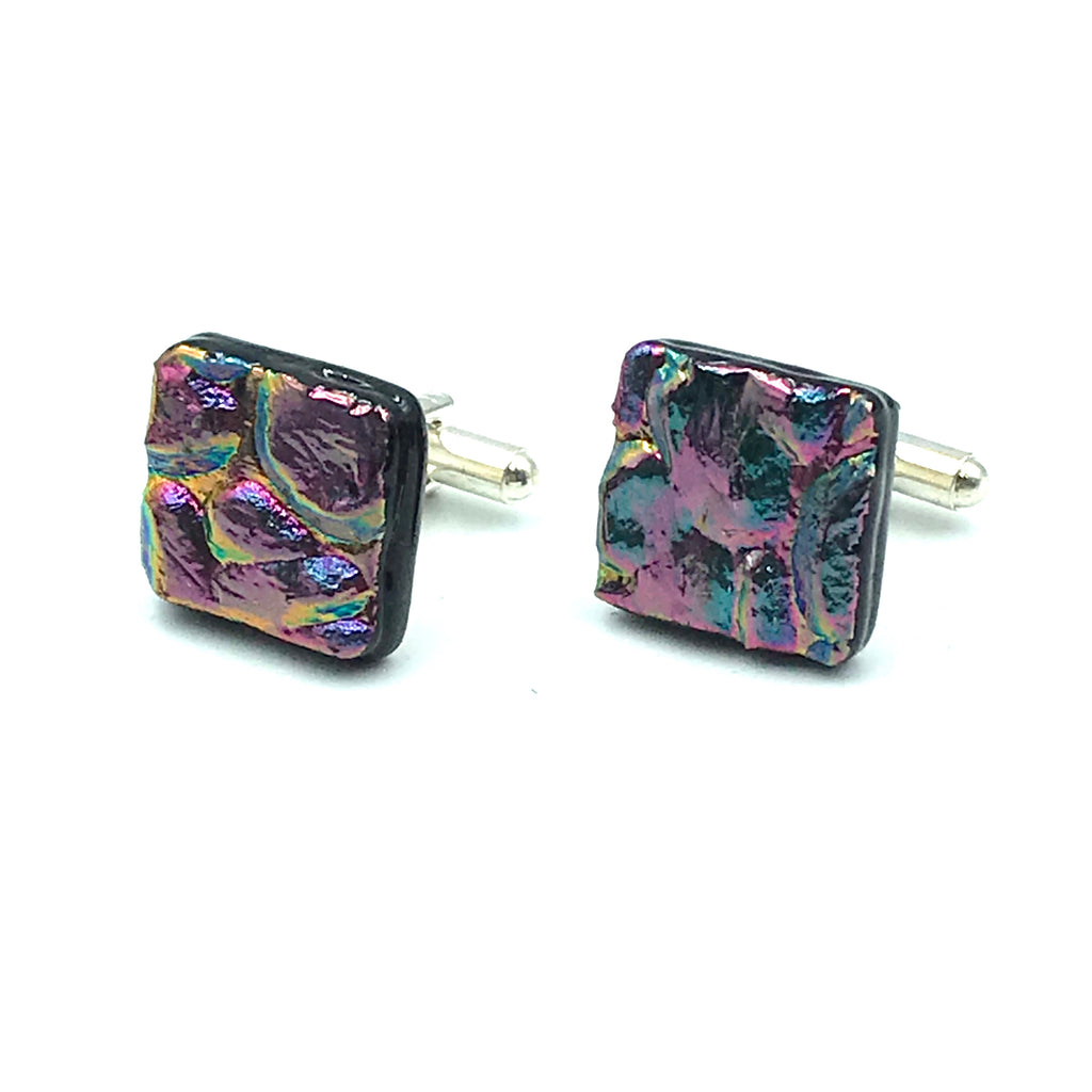 Sterling Silver & Glass Square Cuff Links, Pink and Blue