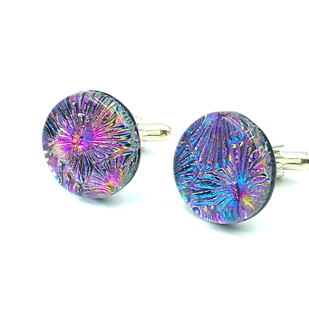 Sterling Silver & Glass Round Cuff Links, Pink and Blue Spray