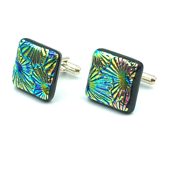 Sterling Silver & Glass Square Cuff Links, Green and Pink Spray