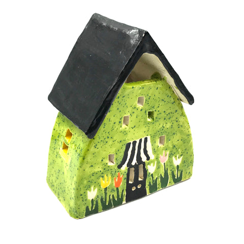 Ceramic House Small Green with Tulips, 5 inches
