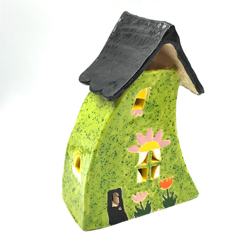 Ceramic House Green with Tulips, 6 1/3 inches