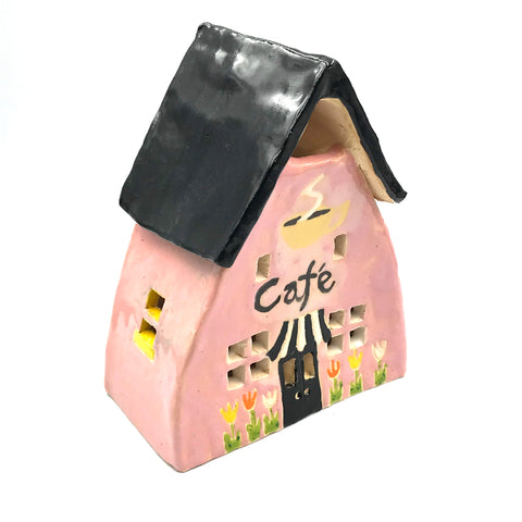Ceramic House Pink Cafe with Tulips, 5 1/2 inches