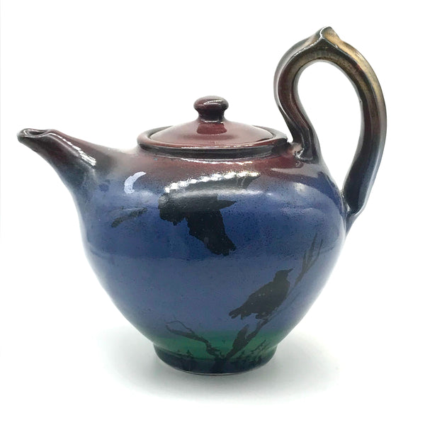 Large Teapot with Crow Design