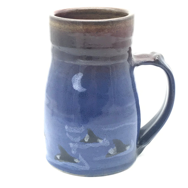 Large Wide Base Mug with Salmon Design