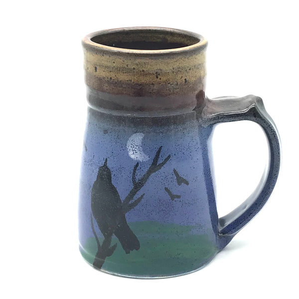 Large Wide Base Mug with Crow Design