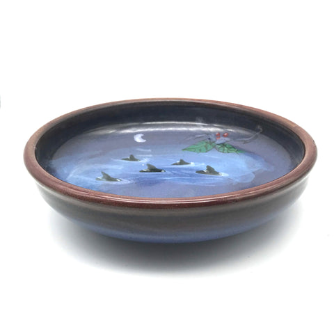 Serving Bowl with Orca and Holly Design