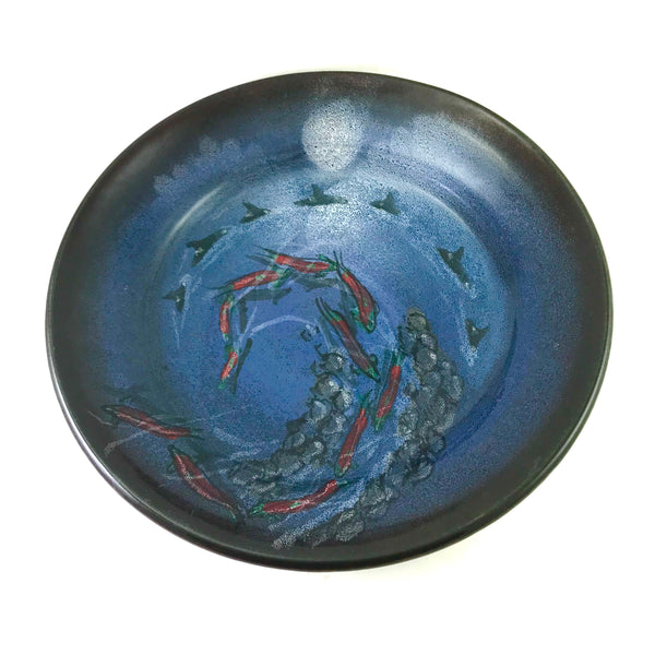 Large Platter with Salmon and Orca Design