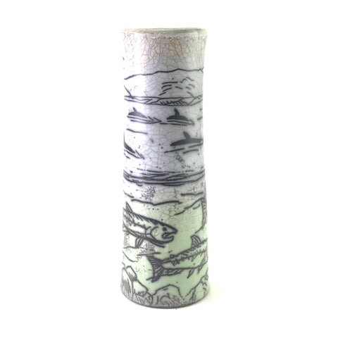 Straight Raku Vase with Salmon Design