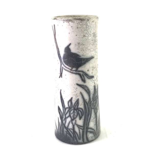 Straight Raku Vase with Crow Design