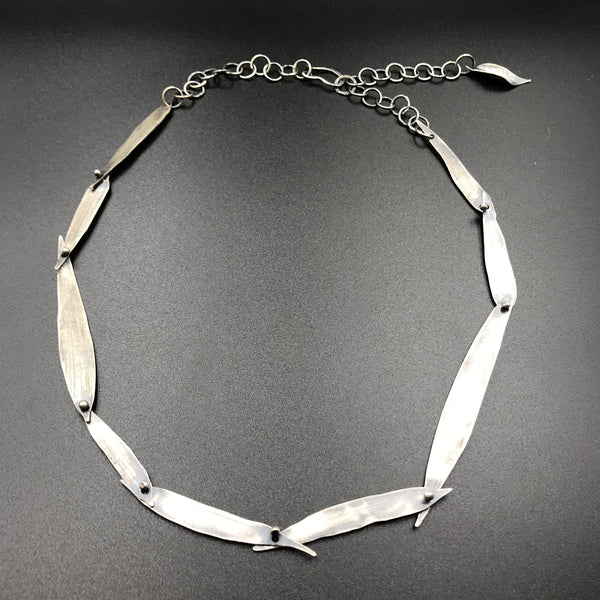 Fused Sterling Silver Bamboo Leaf Design Necklace