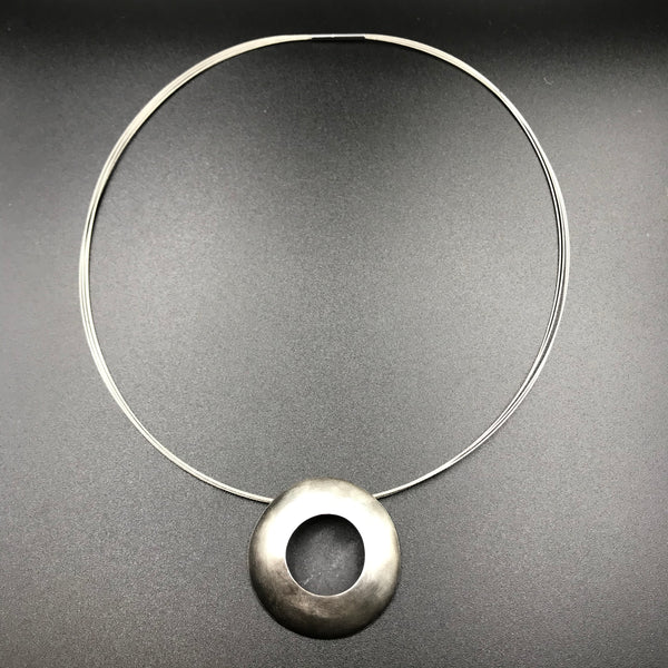 Sterling Silver Hollow Form Dome Necklace