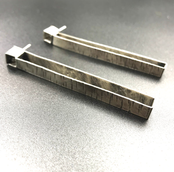 Sterling Silver Long Rectangle Framed Post Earrings
