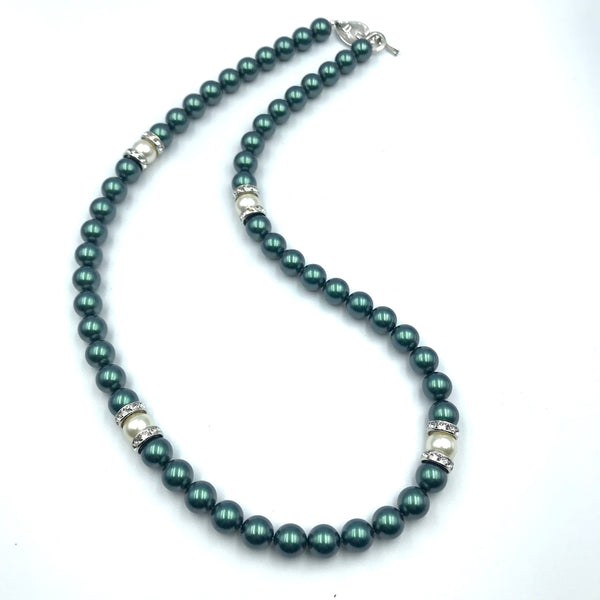 Tuxedo Collection with Black and White Pearls Necklace, 24 inches