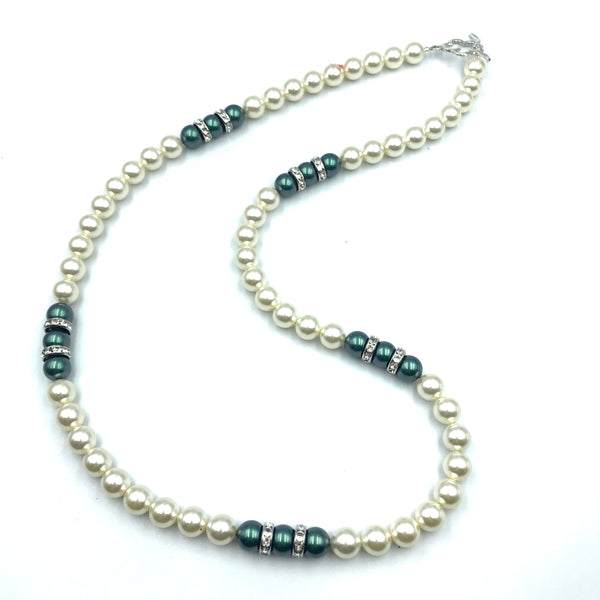 Tuxedo Collection with Black and White Pearls Necklace, 29 inches