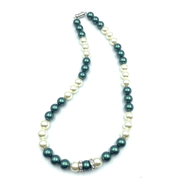 Tuxedo Collection with Black and White Pearls Necklace, 19 inches