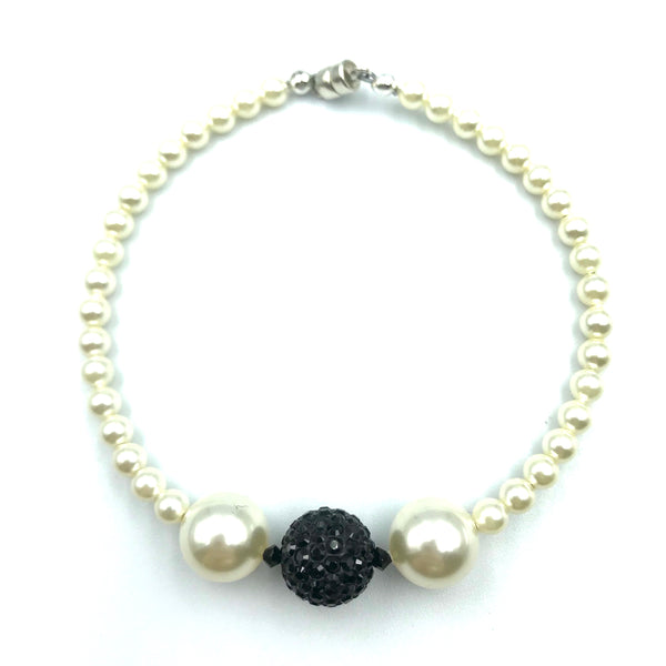 Tuxedo Collection with White Pearls and Pave Bead Bracelet, 7 1/2 inches