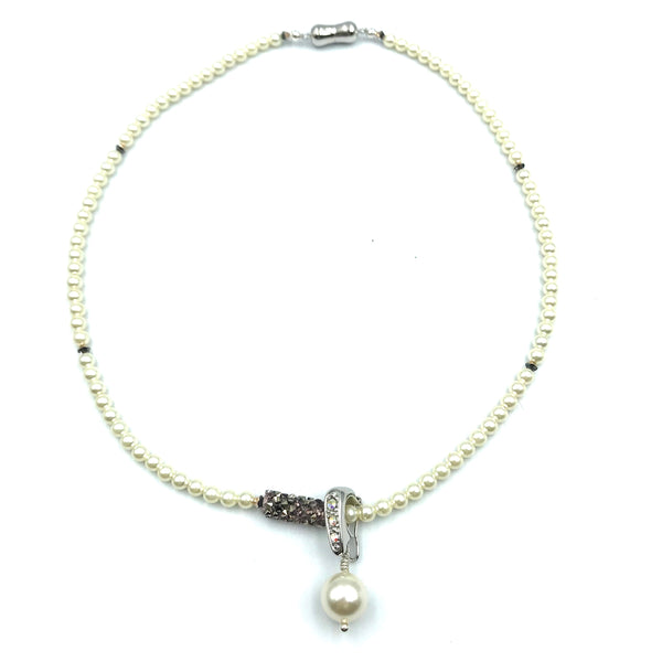 Tuxedo Collection with White Pearls and Pendant Necklace, 16 inches