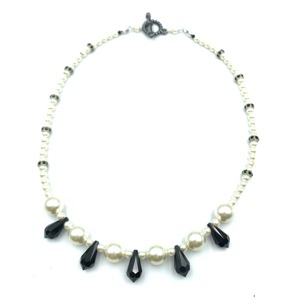 Tuxedo Collection with Black and White Pearls Necklace, 16 inches