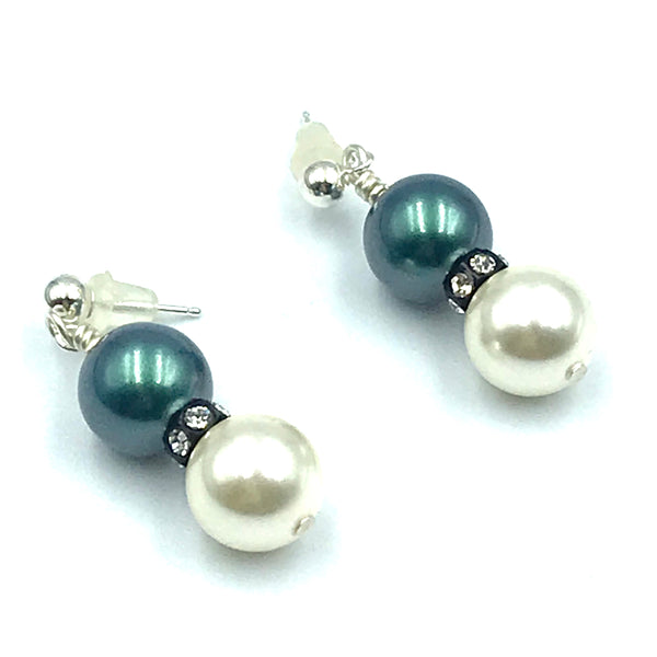 Tuxedo Collection, Black and White Pearl Earrings