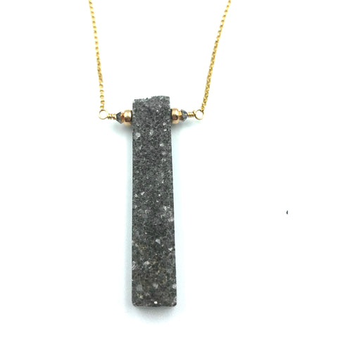 Tuxedo Collection, Druzy Rectangle Pendant Necklace